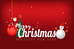 Merry Christmas and happy new year concept on red color background. Vector illustration design. EPS10 vector illustration