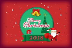 Merry Christmas and happy new year concept on red color background. Vector illustration design. EPS10 stock illustration