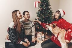 Merry christmas and happy new year concept. stylish hipster fami Royalty Free Stock Image