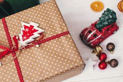 Merry christmas and happy new year concept. stylish wrapped gift Royalty Free Stock Image