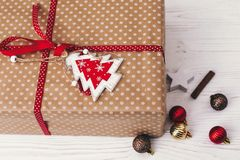 Merry christmas and happy new year concept. stylish wrapped gift Stock Images