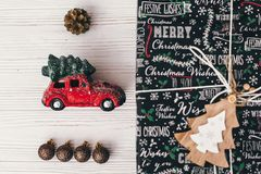 Merry christmas and happy new year concept. stylish wrapped gift Stock Photos