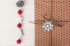 Merry christmas and happy new year concept. stylish wrapped gift Royalty Free Stock Images