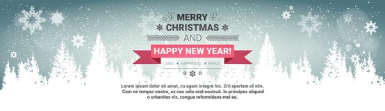 Merry Christmas And Happy New Year Concept Winter Holidays Greeting Card Over Transparent Forest Background