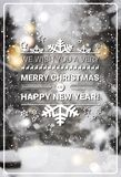 Merry Christmas And Happy New Year Concept Winter Holidays Greeting Card Over Transparent Forest Background Stock Image