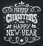 Merry Christmas and Happy New Year. Conceptual handwritten phrase T shirt calligraphic design, greeting card, poster or Royalty Free Stock Photo