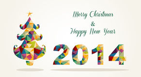 Merry Christmas and Happy New Year contemporary gr. Merry Christmas and Happy New Year 2014 contemporary colorful triangle postcard. EPS10 vector file organized Stock Photos