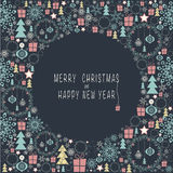 Merry Christmas and Happy New Year. The cover design. Depicts the Christmas decorations and symbols of Christmas and New year. In the Central part of the circle Stock Photography