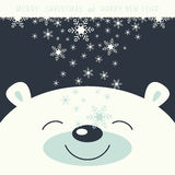Merry Christmas and Happy New Year. The cover design. Depicts face smile little polar bear on the dark background. The falling snowflakes on the face polar bear Royalty Free Stock Photography