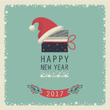 Merry Christmas and Happy New Year. The cover design. The depicts a gift box, phrase happy new year and santa hat on a blue background.The depicts a number 2,0,1 Royalty Free Stock Images