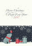 Merry Christmas and Happy New Year. The cover design. Depicts a seated little polar bear with gift box on the nose. Polar bear with the  red scarf.  Phrase merry Stock Photography