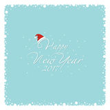 Merry Christmas and Happy New Year. Cover design. The depicts a snow frame, falling snowflakes and the phrase happy new year , number 2,0 1 7 and santa hat on a Stock Photos