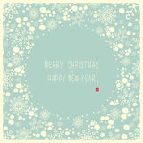 Merry Christmas and Happy New Year. The cover design. Depicts snowflakes and the snow on the blue background. In the center of the blue circle with the words Royalty Free Stock Photos
