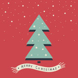 Merry Christmas and Happy New Year. The cover design. The depicts a Christmas tree with stars ,snowflakes of beige on a red background. The phrase merry Royalty Free Stock Image