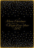 Merry Christmas and Happy New Year. The cover design. Depicts white and gold point on the black background. The phrase merry christmas and happy new year and Stock Photo