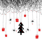 Merry Christmas and Happy New Year. The cover design. Shows four the spider on the web decorating the Christmas tree for the holiday. On the web the garland of Stock Image