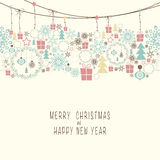 Merry Christmas and Happy New Year. Cover design. At the top of the card contains the Christmas decorations and symbols of Christmas and new year. At the bottom Royalty Free Stock Photos