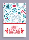 Merry Christmas and Year Cover Vector Illustration. Merry Christmas and happy New Year cover sample with lettering and icons of wreath, snowflake and bow, candy Stock Image