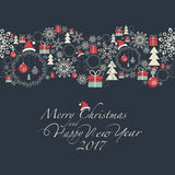 Merry Christmas and Happy New Year. Cover. At the top of the card contains the Christmas decorations and symbols of Christmas and new year. At the bottom of the Stock Image