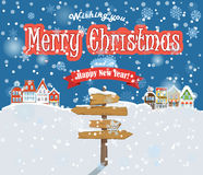 Merry Christmas and Happy New Year. Crossroad empty pointer in winter. Merry Christmas and Happy New Year stock illustration