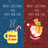 Merry Christmas and Happy New Year. Cup. Santa. Merry Christmas and Happy New Year. Yellow cup with hot drink inside. Striped bent straw. Santa Claus holding Stock Photography