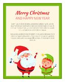 Merry Christmas Happy New Year Cute Elf and Santa. On white poster. Vector illustration with smiling winter holidays symbols in green square frame royalty free illustration