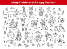 Merry christmas and happy new year cute funny hand drawn outlined doodles animals Royalty Free Stock Photo