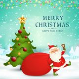 Merry Christmas. Happy new year. Cute Santa Claus with red bag, christmas tree, jingle bell in christmas snow scene stock illustration