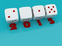 2015 Merry Christmas and Happy New Year ,3d render of a white dice on. Light blue back ground Royalty Free Stock Images