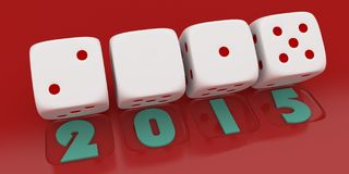 2015 Merry Christmas and Happy New Year ,3d render of a white dice. On red back ground vector illustration