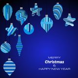 Merry Christmas and Happy New Year dark blue background with christmas balls. Vector background  for your greeting cards, invitations, festive posters Royalty Free Stock Photos