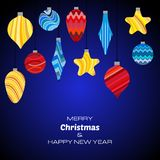Merry Christmas and Happy New Year dark blue background with christmas balls. Vector background  for your greeting cards, invitations, festive posters Stock Photo
