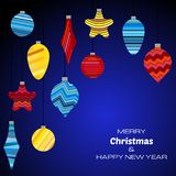 Merry Christmas and Happy New Year dark blue background with christmas balls. Vector background  for your greeting cards, invitations, festive posters Stock Images