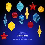 Merry Christmas and Happy New Year dark blue background with christmas balls. Vector background  for your greeting cards, invitations, festive posters Stock Photography