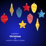Merry Christmas and Happy New Year dark blue background with christmas balls. Vector background  for your greeting cards, invitations, festive posters Stock Image