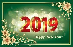 Merry Christmas and Happy New Year 2019 with the date in three-dimensional image on a green background. Christmas card with the date 2019 on a green floral and vector illustration