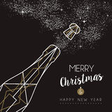Merry christmas happy new year deco bottle outline Royalty Free Stock Photo