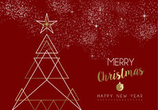 Merry christmas happy new year deco tree outline. Merry christmas happy new year gold pine tree design in art deco outline style. Ideal for xmas greeting card or Royalty Free Stock Photography