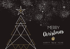 Merry christmas happy new year deco tree outline Stock Photography