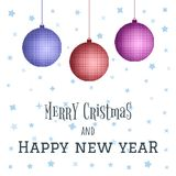 Merry Christmas and Happy New Year decoration poster card. Christmas toys vector illustration. Merry Christmas and Happy New Year decoration poster card royalty free illustration