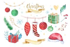 Merry Christmas and Happy New Year 2019 decoration winter set. Watercolor holiday background. Xmas element card. Merry Christmas and Happy New Year 2019 stock images