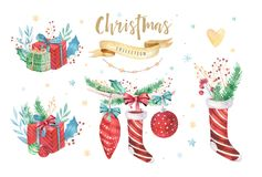 Merry Christmas and Happy New Year 2019 decoration winter set. Watercolor holiday background. Xmas element card. Merry Christmas and Happy New Year 2019 stock photo
