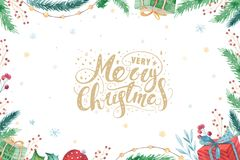 Merry Christmas and Happy New Year 2019 decoration winter set. Watercolor holiday background. Xmas element card. Merry Christmas and Happy New Year 2019 royalty free stock images