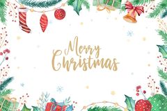 Merry Christmas and Happy New Year 2019 decoration winter set. Watercolor holiday background. Xmas element card. Merry Christmas and Happy New Year 2019