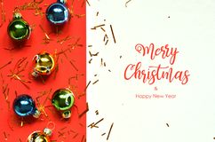 Merry Christmas and Happy New Year. Christmas decorations stock photo