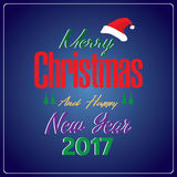 Merry Christmas and Happy New Year with decorations Christmas tree on Dark blue of Holiday Card. Holiday background vector illustration