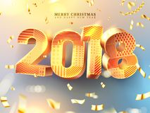 Merry Christmas and Happy New Year 2018 decorations. 3d golden numbers with geometric texture. Greeting card  template. Gold. Foil confetti, glitter. Holiday Royalty Free Stock Photos