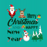 Merry Christmas and Happy New Year and Decorations. Santa Claus, Reindeer, Snowman on Green background Card. Holiday background royalty free illustration
