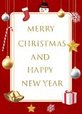 Merry christmas and happy new year with decorative. A merry christmas and happy new year with decorative stock illustration