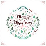 Merry christmas and happy new year decorative vintage vector background for holiday greeting card design template.  stock illustration